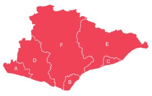 Red outline map of East Sussex