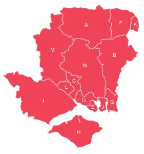 Red outline map of Hampshire