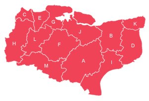 Red outline map of Kent