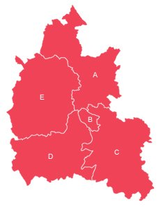 Red outline map of Oxfordshire