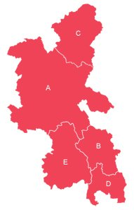 Red outline map of Buckinghamshire