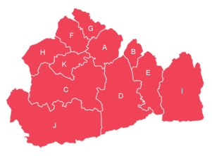 Red outline map of Surrey