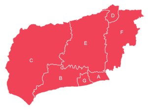 Red outline map of West Sussex