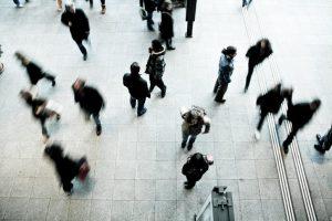 birds-eye view of people walking