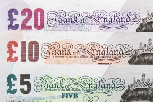 a snapshot of a £5, £10 and £20 note