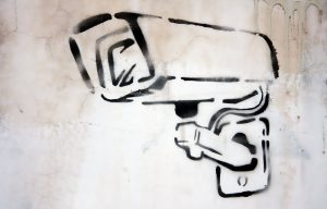 Graffiti stencil of a surveillance camera