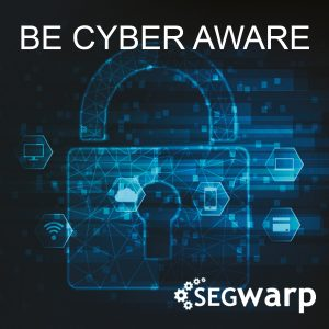 Be cyber aware image, padlock over a black background