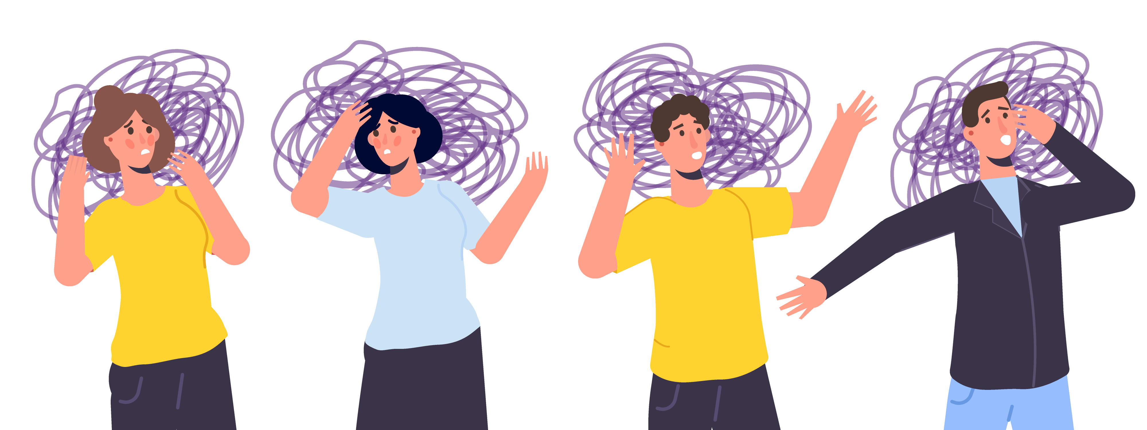 Illustration of 2 men and 2 women with scribbles around their heads
