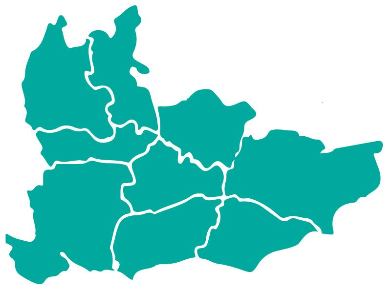 A teal area map of the South East